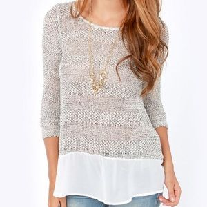 Lulu's Frost at Sea Speckled Ivory Sweater Top